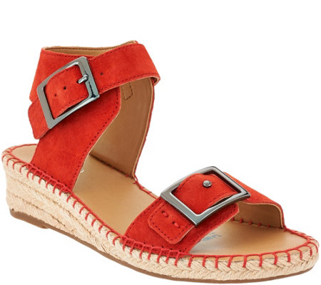 """As Is"" Franco Sarto Suede or Leather Espadrille Sandals - Latin"