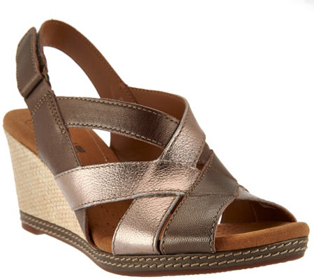 """As Is"" Clarks Leather Cross-strap Wedge Sandals - Helio Coral"