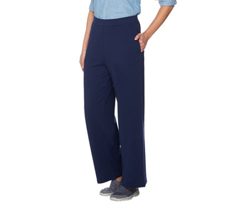 Denim & Co. Active Petite Wide Leg Pull-on Pant