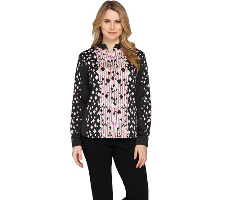Bob Mackie's Printed Button Front Stand Collar Blouse