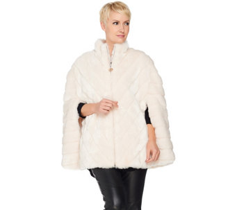 Dennis Basso Platinum Collection Grooved Faux Fur Cape - A287495
