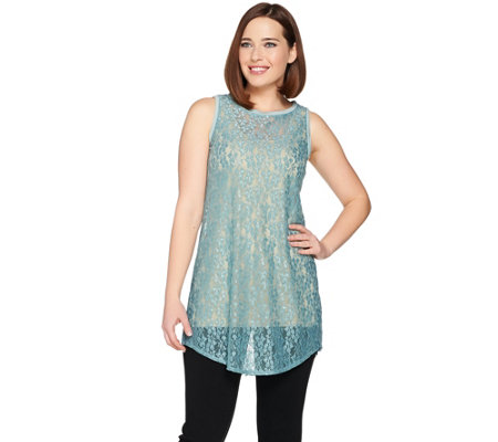 LOGO Layers by Lori Goldstein Long Lace Tank with Shirttail Hem