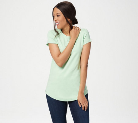 Isaac Mizrahi Live! Essentials Pima Cotton Curved Hem T-Shirt