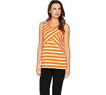 Susan Graver Weekend Striped Cotton Modal Sleeveless Top - A288495