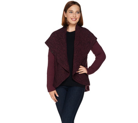 """As Is"" Lisa Rinna Collection Open Front Shawl Collar Sweater"