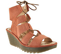 FLY London Leather Ghillie Lace-up Wedges - Yoll - A289795