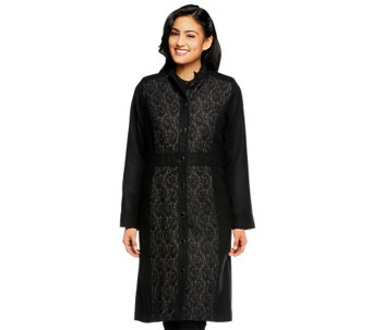 """As Is"" Isaac Mizrahi Live! Mandarin Collar Lace Jacquard Melton Coat - A291395"