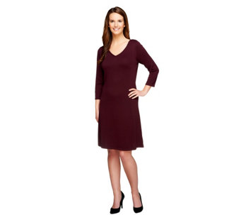 """As Is"" Isaac Mizrahi Live! 3/4 Sleeve V-Neck Sweater Dress - A291495"