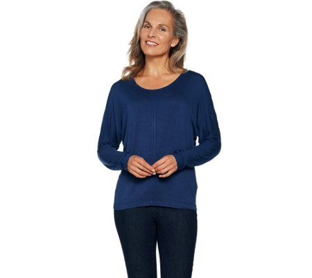 Lisa Rinna Collection Dolman Sleeve Jersey Tee with Back Detail