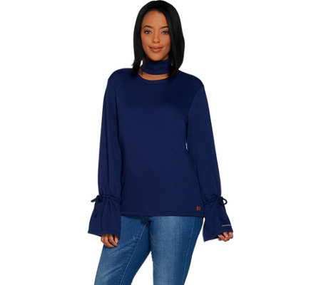 Peace Love World French Terry Knit Top w/Tie Bell Sleeves