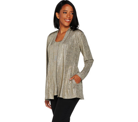 Susan Graver Foil Print Cardigan and Tank Set