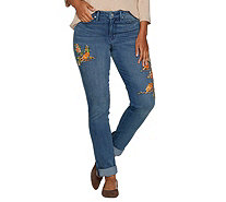 Martha Stewart Canary Embroidered Girlfriend Jeans - A301095
