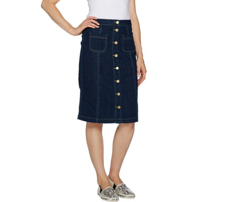 """As Is"" LOGO by Lori Goldstein Denim Button Front Skirt"