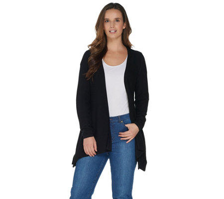 H by Halston Long Sleeve Handkerchief Hem Open Front Cardigan