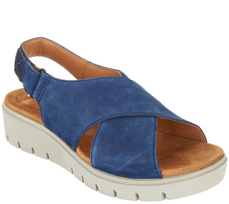 Clarks UnStructured Leather Low Wedge Sandals - Un Karely Hail