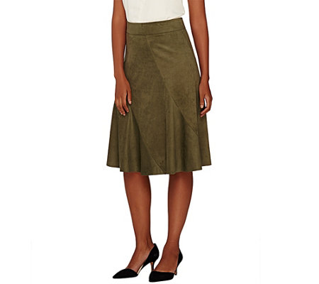 """As Is"" G.I.L.I. Faux Suede Skirt w/ Seaming Detail"