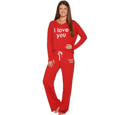"""As Is"" Peace Love World Affirmation Knit Pajama Set"