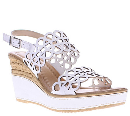 Azura by Spring Step Leather Wedge Sandals - Nicola