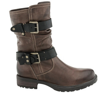 Earth Leather Mid Calf Boot w/ Double Buckles -Everwood - A338095