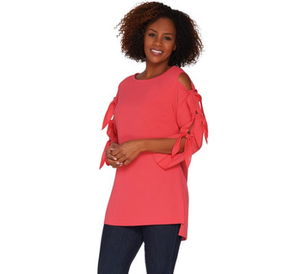 """As Is"" Du Jour Knit Tunic with Tie Sleeve Detail"