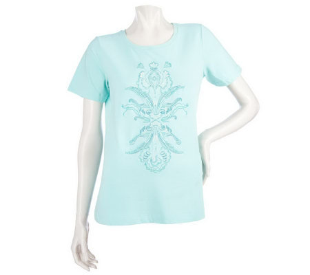 Susan Graver Stretch Cotton Short Sleeve T-Shirt with Floral Motif