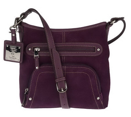 Tignanello Suede Organizer Crossbody Bag w/Key Fob