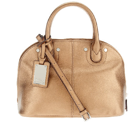 Tignanello Pebble Leather Domed Satchel with Removable Strap