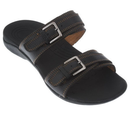 Weil by Orthaheel Mystic Orthotic Leather Double Strap Sandals