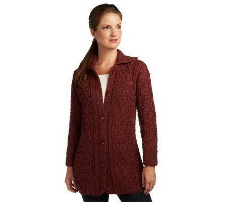 Kilronan Wool Tweed Cable Cardigan - Page 1 — QVC.com