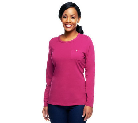 Denim & Co. Essentials Round Neck Tee With Epaulets at Shoulders