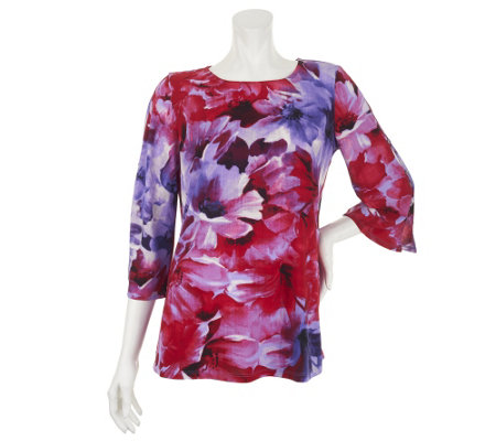 Susan Graver Liquid Knit Printed Top w/ Split Sleeve Button Detail