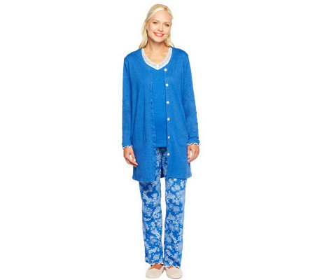 Carole Hochman Winter Paisley 3-Piece Pajama Set with Lace Trim