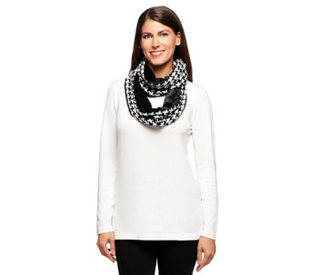 Joan Rivers Houndstooth and Faux Fur Infinity Scarf - A235996