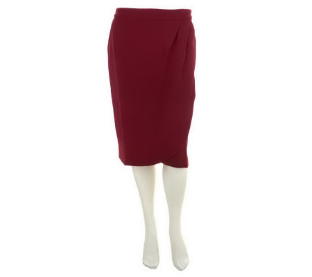 George Simonton Stretch Crepe Tuck Detail Skirt with Side Pockets