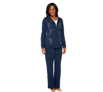 Quacker Factory Rhinestone Swirl Jacket and Pants Set - A239096