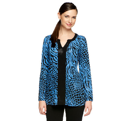 Susan Graver Liquid Knit Printed 3/4 Sleeve Tunic with Sparkles