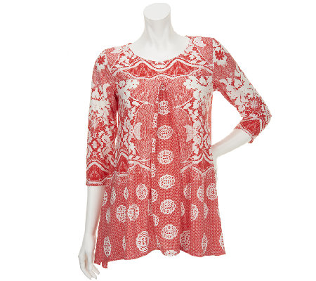 Attitudes by Renee Petite Printed Tunic with Front Pleat