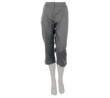 """As Is"" Susan Graver Cotton Sateen Capri Pants with Side Slits"