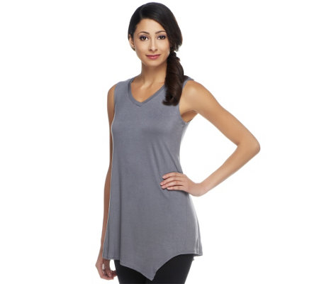 LOGO Layers by Lori Goldstein Petite Tank with Angled Hem
