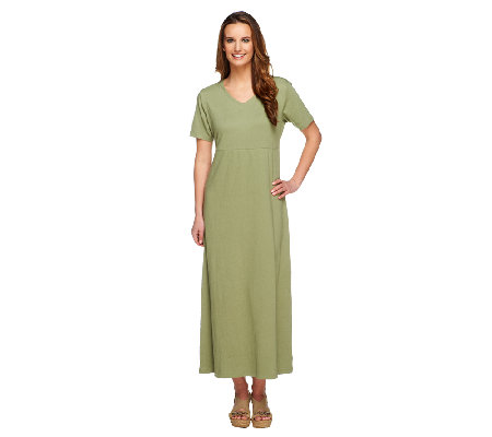 Denim & Co. Knit Gauze V-neck Short Sleeve Maxi Dress