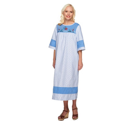 Quacker Factory 3/4 Sleeve Summer Float Dress