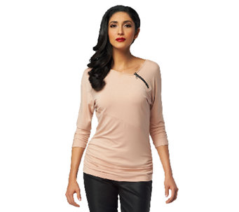 Project Runway by Seth Aaron Asymmetrical Top w/ Ruching - A253696