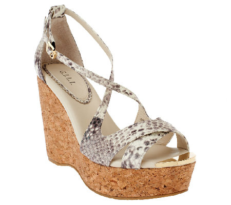 G.I.L.I. Patent Leather Criss-cross Cork Wedges - Ferrara