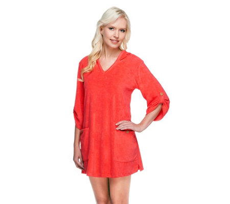 Denim & Co. Beach Knit Terry Cover-up with Hood & Pockets