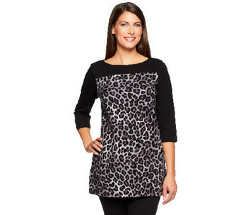 """As Is"" Denim & Co. Knit 3/4 Sleeve Animal Print Tunic - A254996"