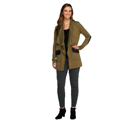 Lisa Rinna Collection Cardigan with Faux Leather Detail