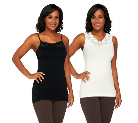 Isaac Mizrahi Live! Set of Two Seamless Lace Trim Camisoles