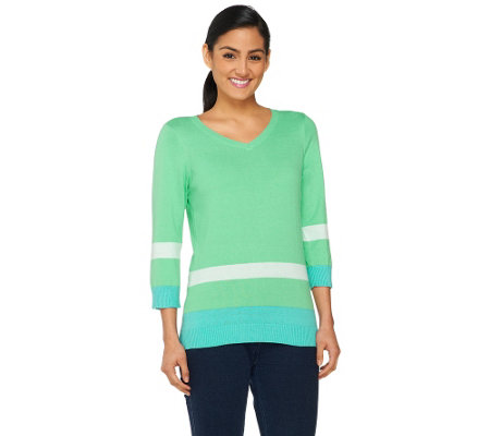Denim & Co. Color-Block 3/4 Sleeve V-neck Sweater