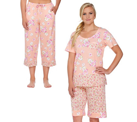 Carole Hochman Lakeside Bloom 3 Piece Pajama Set