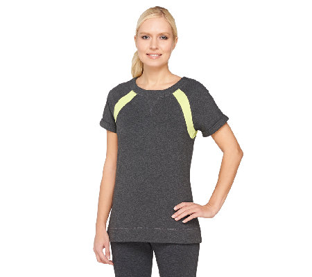 Denim & Co. Active Duo-Stretch Raglan Sleeve Color-Block Top
